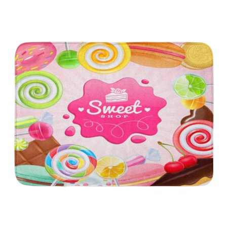 GODPOK Pink Different Sweets Colorful Lollipops Cake Macarons Chocolate Bar Candies and Donut on Shine Green Rug Doormat Bath Mat 23.6x15.7 inch](Pink And Green Lollipops)