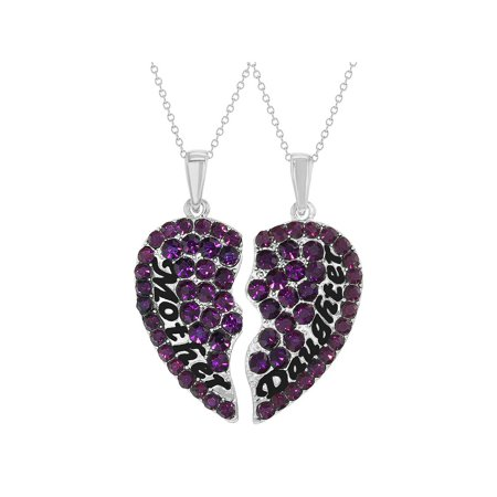 Rhodium Plated Purple Mother Daughter Necklace Pendant Hearts 19