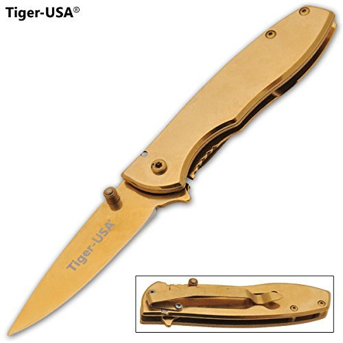 ALL GOLD BLADE And HANDLE ASSISTED OPENING Godfather Milano POCKET KNIFE TIGER USA