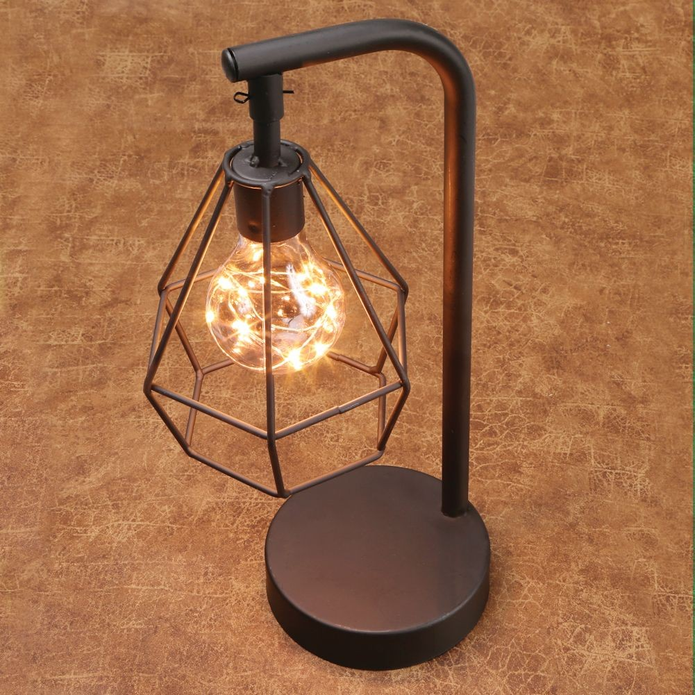 Table Desk Accent Lamp 12 H Metal Vintage Cage Led Light