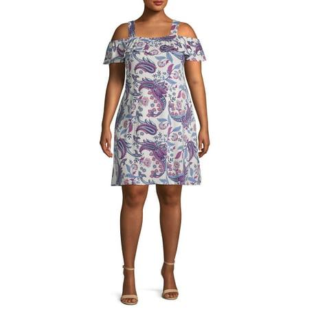 French Laundry Women's Plus Size Off the Shoulder Ruffle Dress (Dresses Plus Size Sale)
