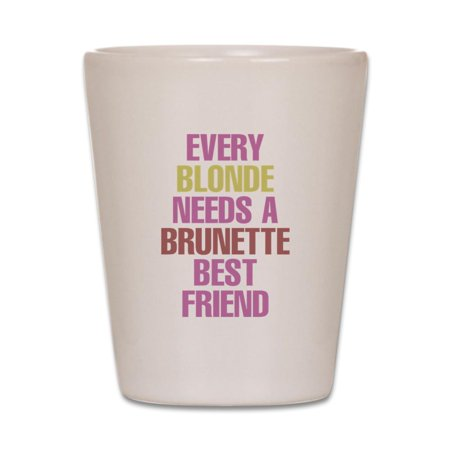 CafePress - Brunette Best Friend & Blonde Best Friend Couples - White Shot Glass, Unique and Funny Shot