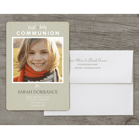 Personalized First Communion Deluxe 5 x 7 Invitation - Communion Light (First Holy Communion Invitations)