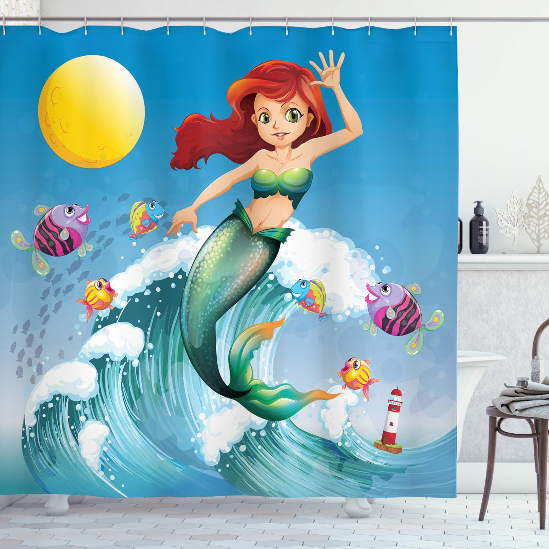 Kids Shower Curtain Set Ilration, Little Mermaid Bathroom Accessories