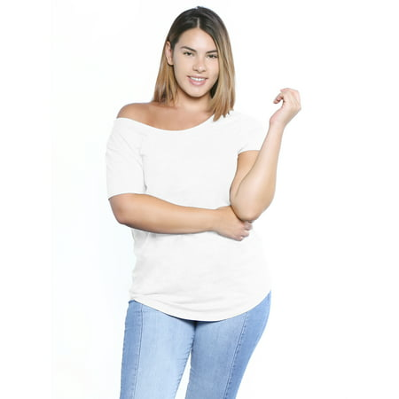 Awkward Styles Off One Shoulder Tshirt Plus Size Shirt for Women Cute Birthday Gifts Baggy Shirts Off Shoulder Tops for Women Curvy Women Outfit 80s Off The Shoulder Tshirt Sexy Plus Size for Women Sexy One Shoulder Floor