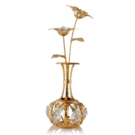 Matashi 24K Gold Plated Sun Flowers In A Vase Table Top Ornament Made With Genuine  Crystals