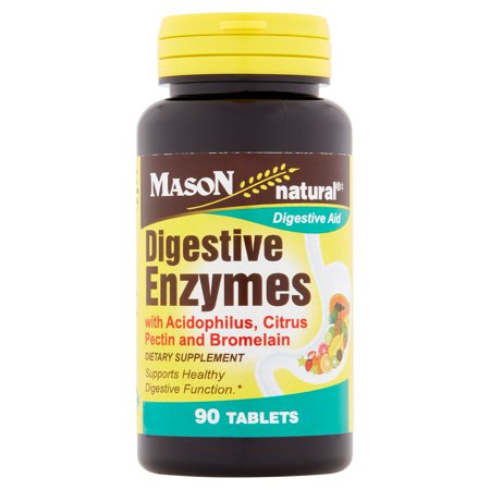 Mason Natural Digestive Aid Enzymes with Acidophilus, Citrus Pectin and Bromelain Tablets, 90 count