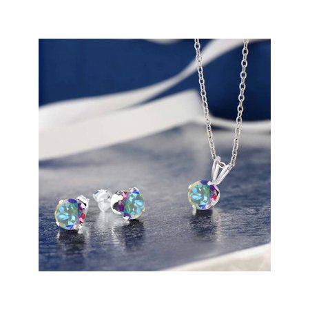 3.00 Ct Mercury Mist Mystic Topaz 925 Silver Pendant Earrings Set With Chain - image 1 of 2