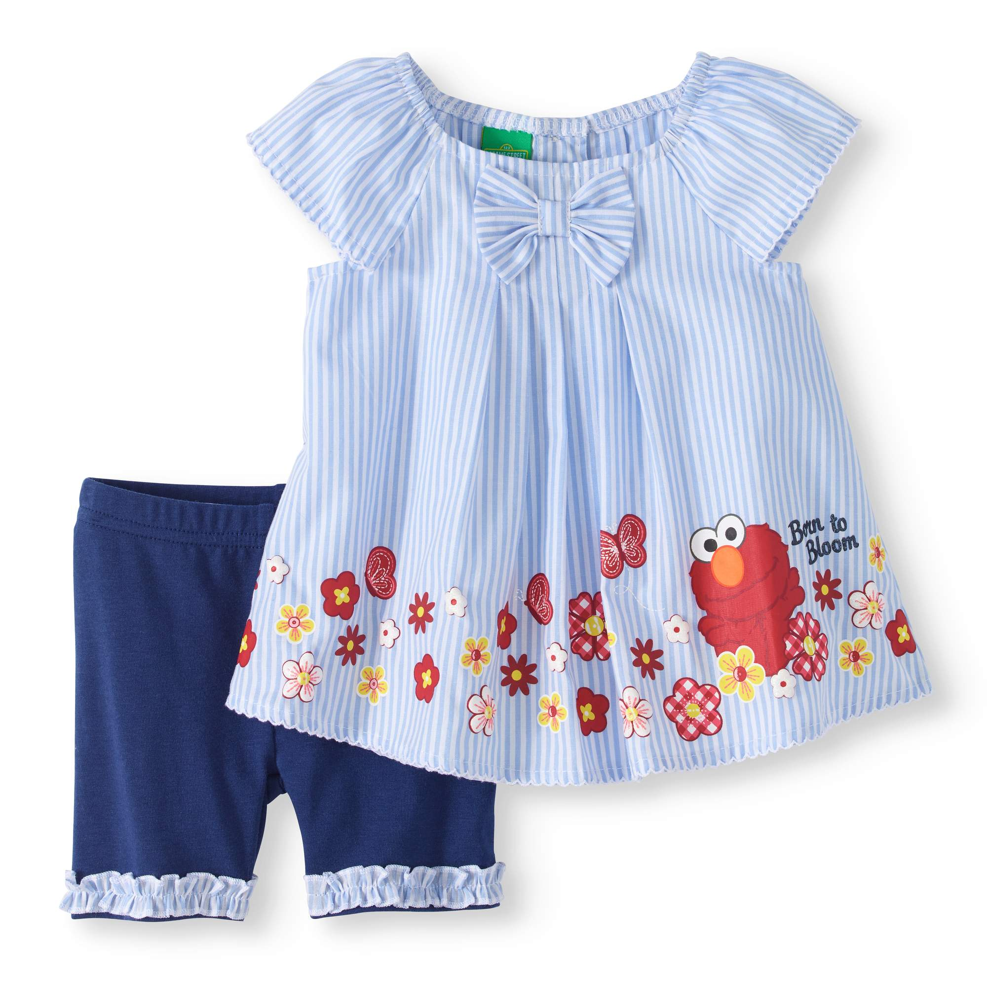 Sesame Street Elmo Baby Girl Sleeveless Poplin Tunic Top & Knit Shorts, 2pc Outfit Set