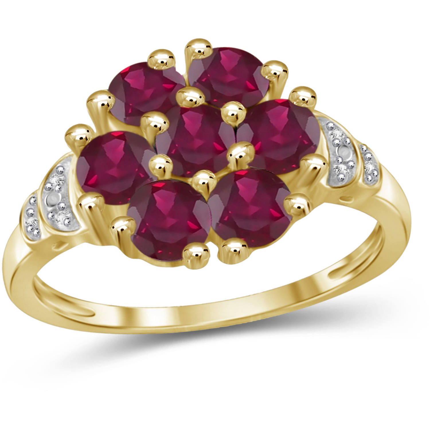 JewelersClub 2.31 Carat T.G.W. Ruby Gemstone And White Diamond Accent Gold Over Silver Ring by JewelersClub