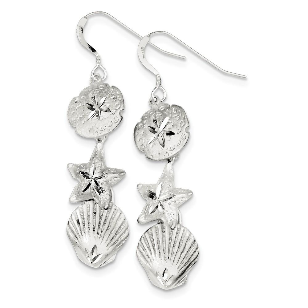 Sterling Silver Sea Life Dangle Earrings (2.2IN x 0.5IN )