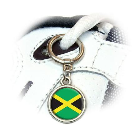 Flag Shoe Charm (Jamaica Jamaican Flag Round Dangle Shoe)