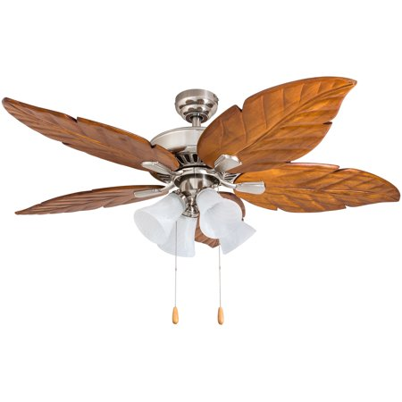 Prominence Home 50662-35 Grayton Tropical 52-Inch Brushed Nickel Indoor Ceiling Fan, Multi-Arm Lighting with Dark Cherry Hand Carved Wood Blades