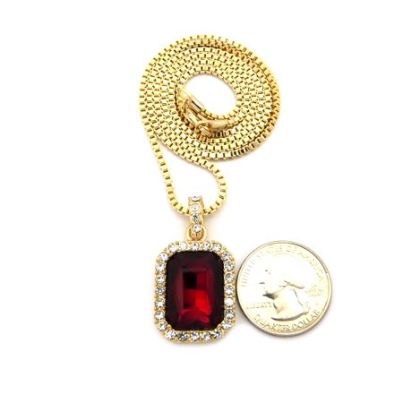 Goldstone Freshwater Necklace - Rectangular Faux Ruby Stone Pendant w/ 2mm 24