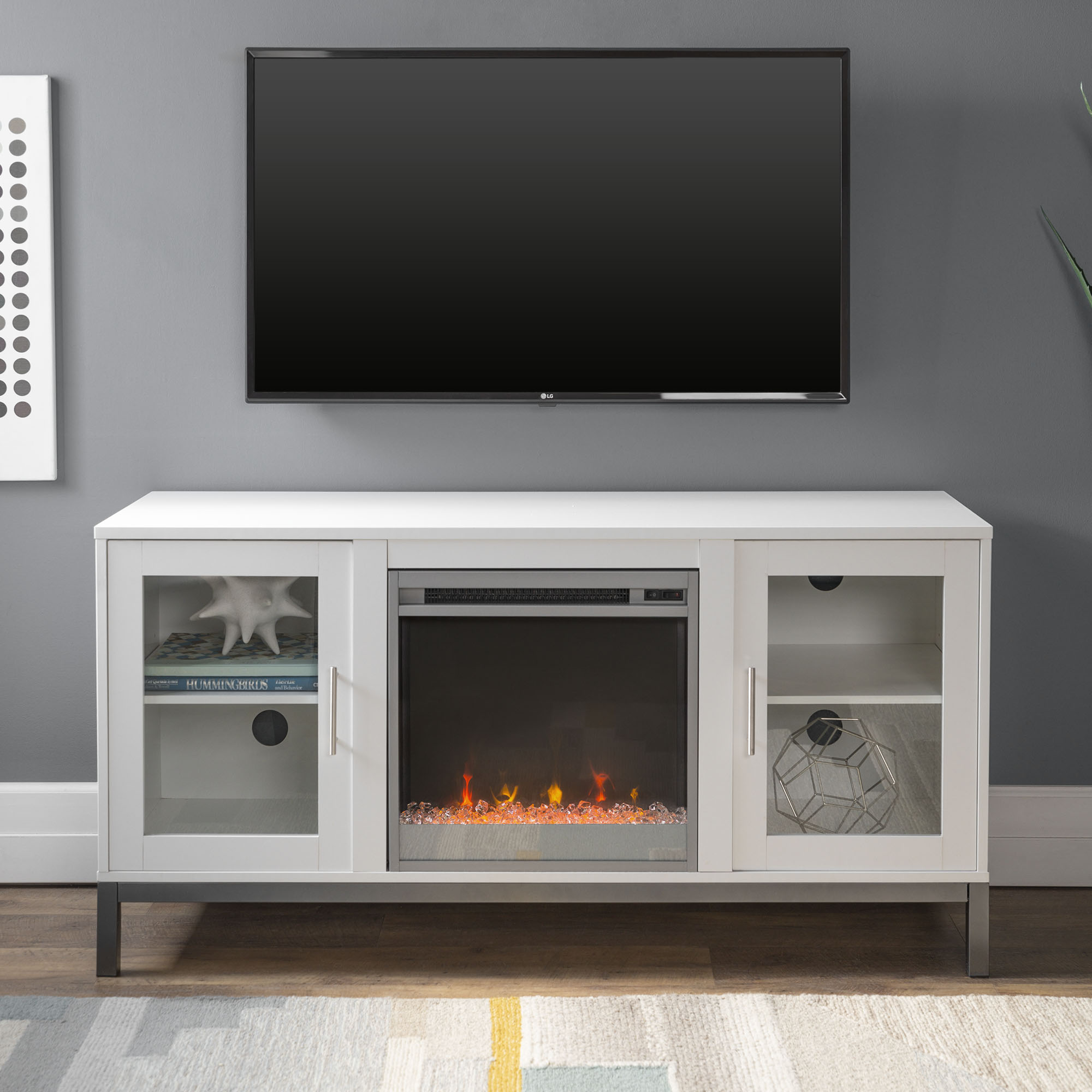 """52"""" Modern Wood Fireplace Media TV Stand Storage Console Entertainment Center - White"""