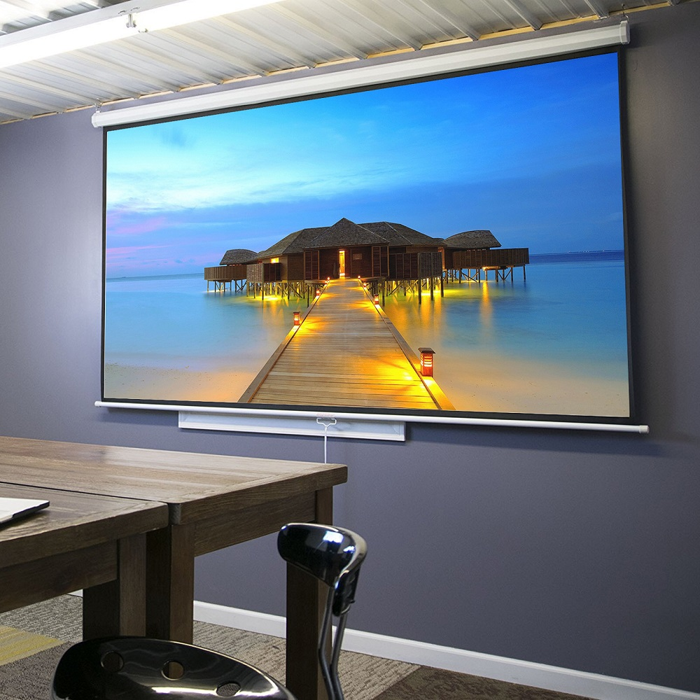 "Zeny  100"" Diagonal 16:9 Projection Projector Screen HD Manual Pull Down Home Theater"