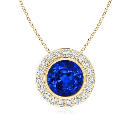 September birthstone pendant necklaces round bezel set sapphire this button opens a dialog that displays additional images for this product with the option to zoom in or out aloadofball Image collections