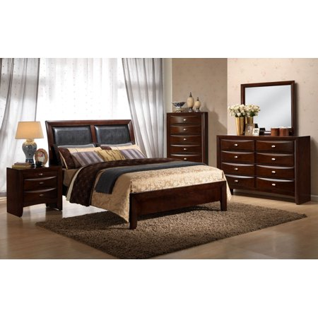 Gymax 5 Piece Luxury Wood Furniture Set Bed Dresser Mirror Chest Night Stands Bedroom ()