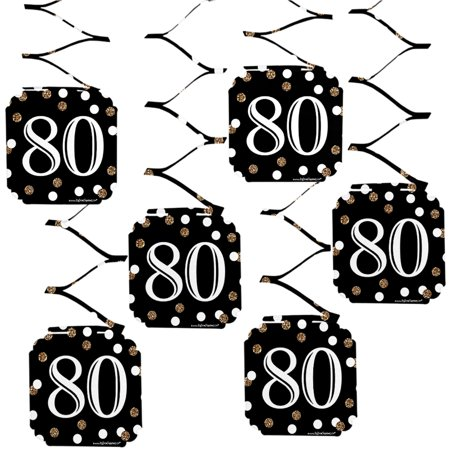 (Adult 80th Birthday - Gold - Birthday Party Hanging Decorations - 6 Count)