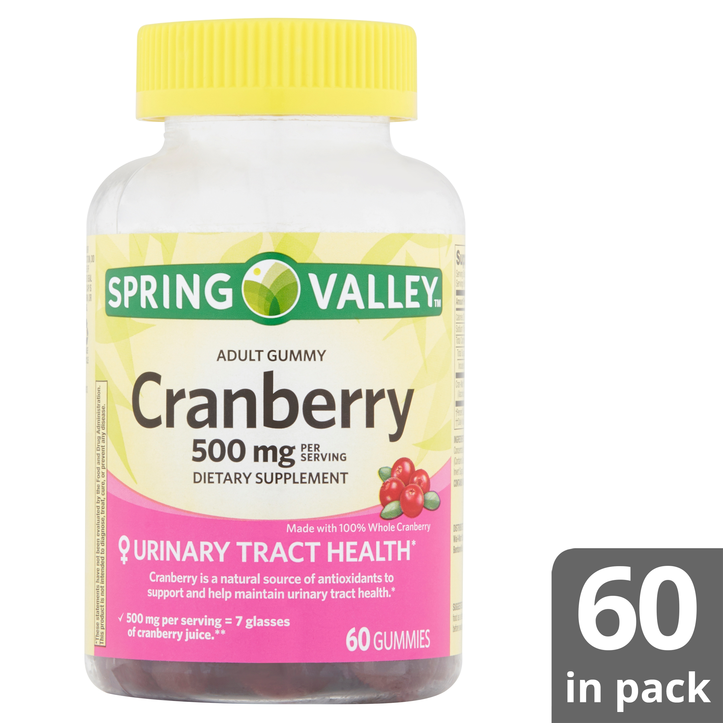 b69a72b5 Spring Valley Cranberry Adult Gummies, 500 mg, 60 count - Walmart.com