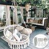 Hammock Chair Hanging Chairs Mesh Woven Macrame Swing Garden Indoor Outdoor Home Decor,100/120/150KG Load-Bearing Christmas Gift
