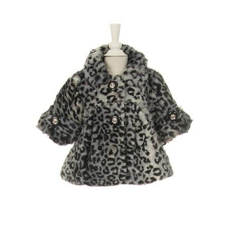 Little Girls Black White Leopard Pattern Faux Fur Winter Swing Coat 4 - Girls Leopard Coat