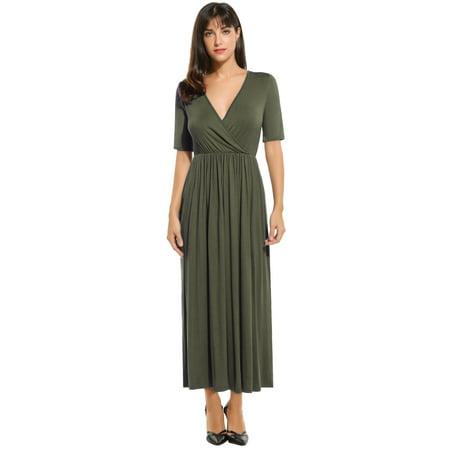 Meaneor Women V-Neck Mid Calf Length Short Sleeve Dress Elastic High Waist Casual Dress RllYE](Mid Length Petticoat)
