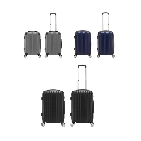 20 inch Waterproof Spinner Luggage Travel Business Large Capacity Suitcase Bag Rolling Wheels Navy Blue Parent-child suitcase Plaid Large Rolling Luggage