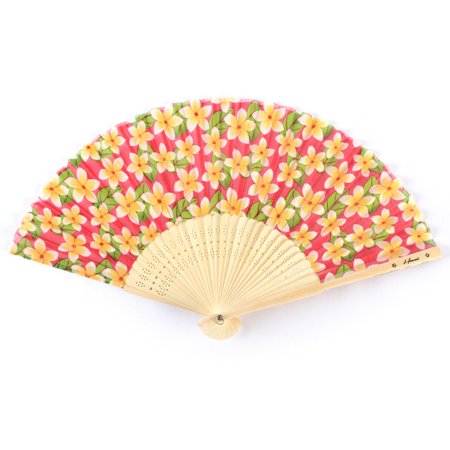 Hawaii Luau Party Favors Wedding Fabric & Wood Folding Hand Fan in Pink Plumeria 4 PACK