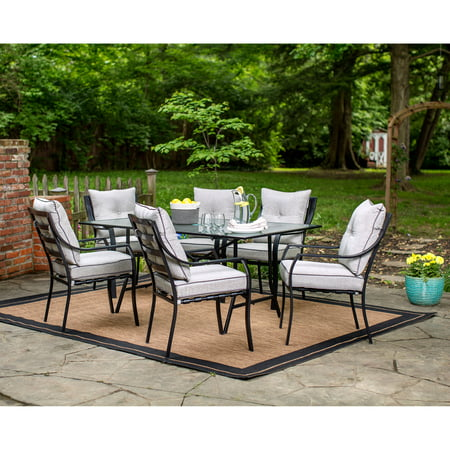 Hanover Lavallette 7 Piece Outdoor Dining Set In Gray