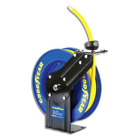 Goodyear Steel Retractable Air Compressor/Water Hose Reel with 3/8 in. x 25 ft. Rubber Hose, Max. (Goodyear Hydraulic Hose)
