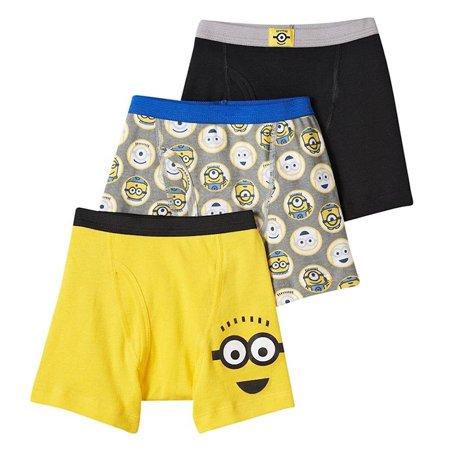Universal Pictures Despicable Me Minion Boys Underwear, 3 Pack Boxer Briefs (Little Boys & Big