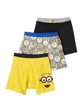Universal Pictures Despicable Me Minion Boys Underwear, 3 Pack Boxer Briefs (Little Boys & Big Boys)