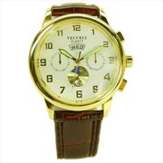 M-522 W-BRN White Men Watch in Brown Band