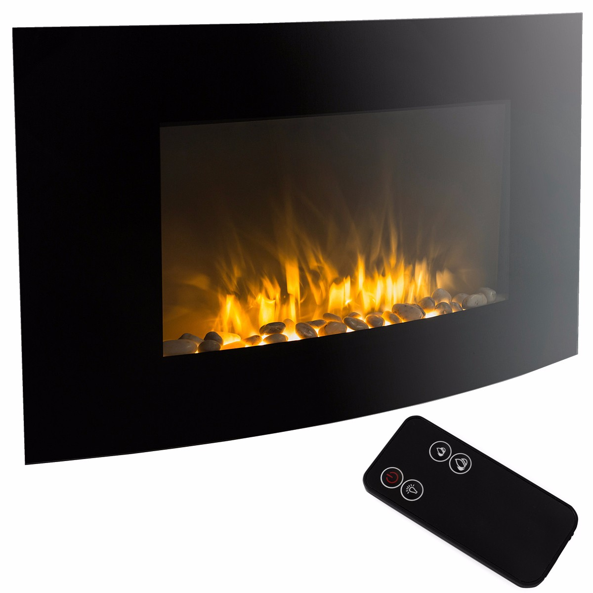 "35"" Electric Fireplace 1500W Heat Adjustable Electric Wall Mount Heater with Remote"