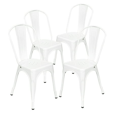 Image of Metal Dining Chair Stackable Indoor-Outdoor Industrial Vintage Chairs Bistro Kitchen Cafe Side Chairs with Back Set of 4 (White)