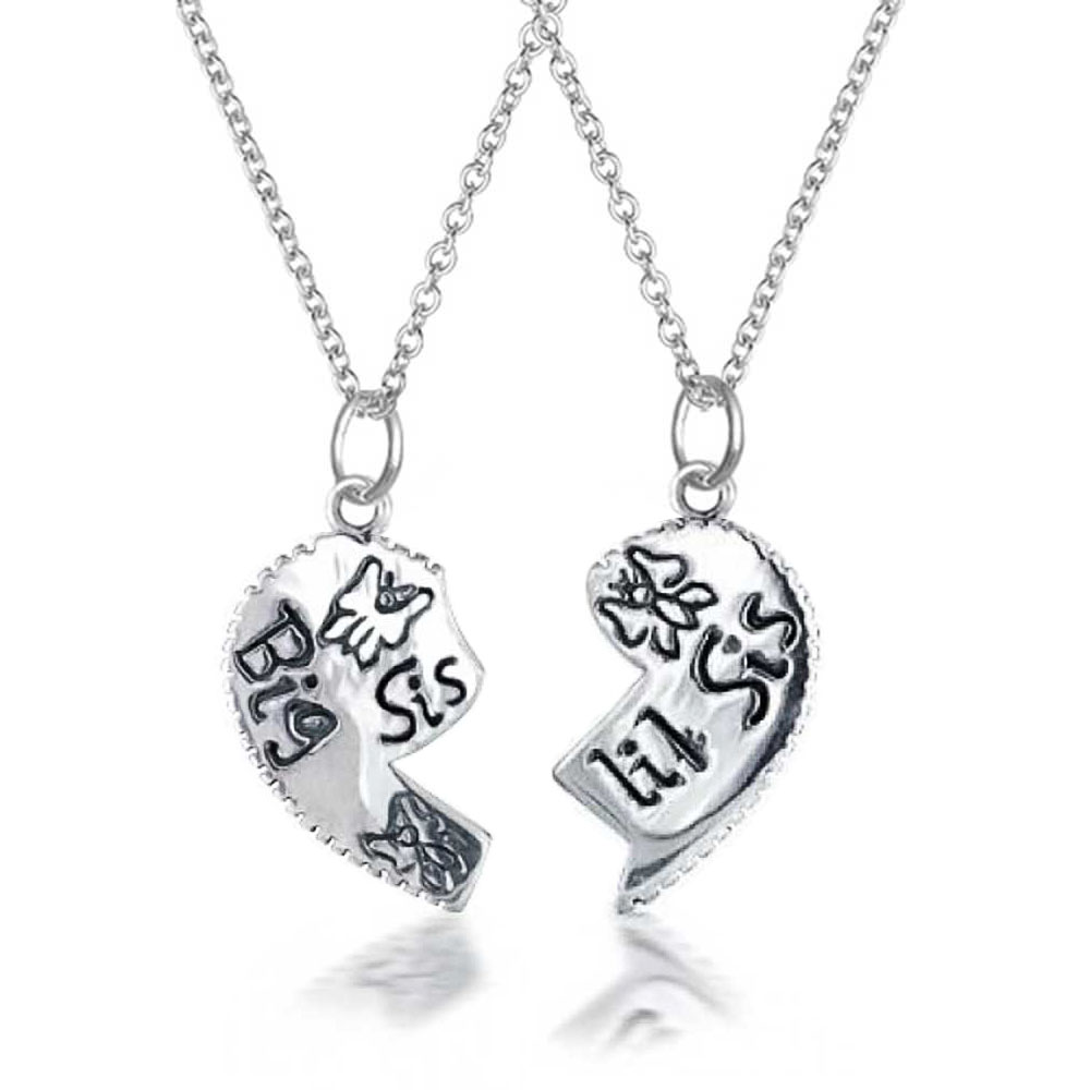 Bling Jewelry Sisters Split Heart Butterfly Pendant Sterling Silver Necklace Set 16 Inches