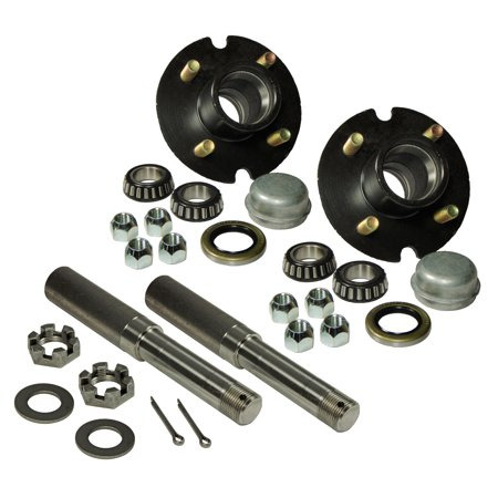 Pair of 4-Bolt On 4 Inch Trailer Hub Assemblies - Includes (2) 1 Inch Straight Spindles & Bearings