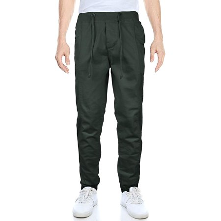 OTB Banded Athletic Work Out Gym Stretch Jogger Sweat Pants (Dark Olive,