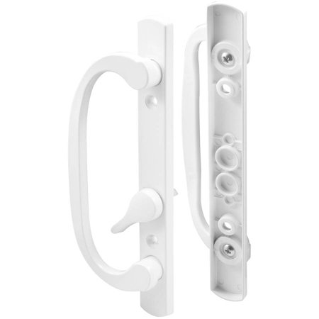 Prime Line C1280 White Offset Latch Lever Sliding Door Handle Set