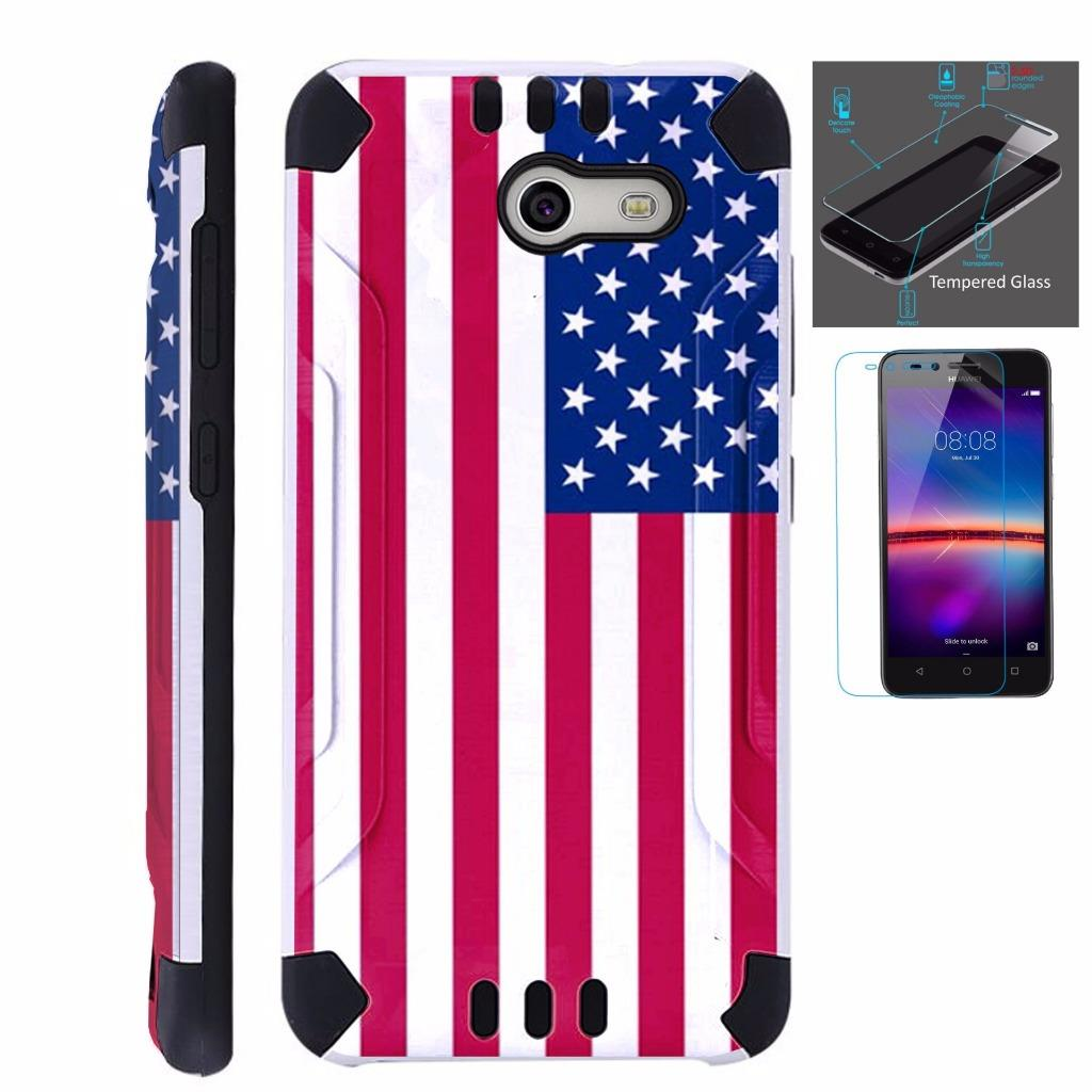 For Alcatel Zip Case + Tempered Glass Brushed Metal Texture Hybrid TPU KombatGuard Phone Cover (American US Flag)
