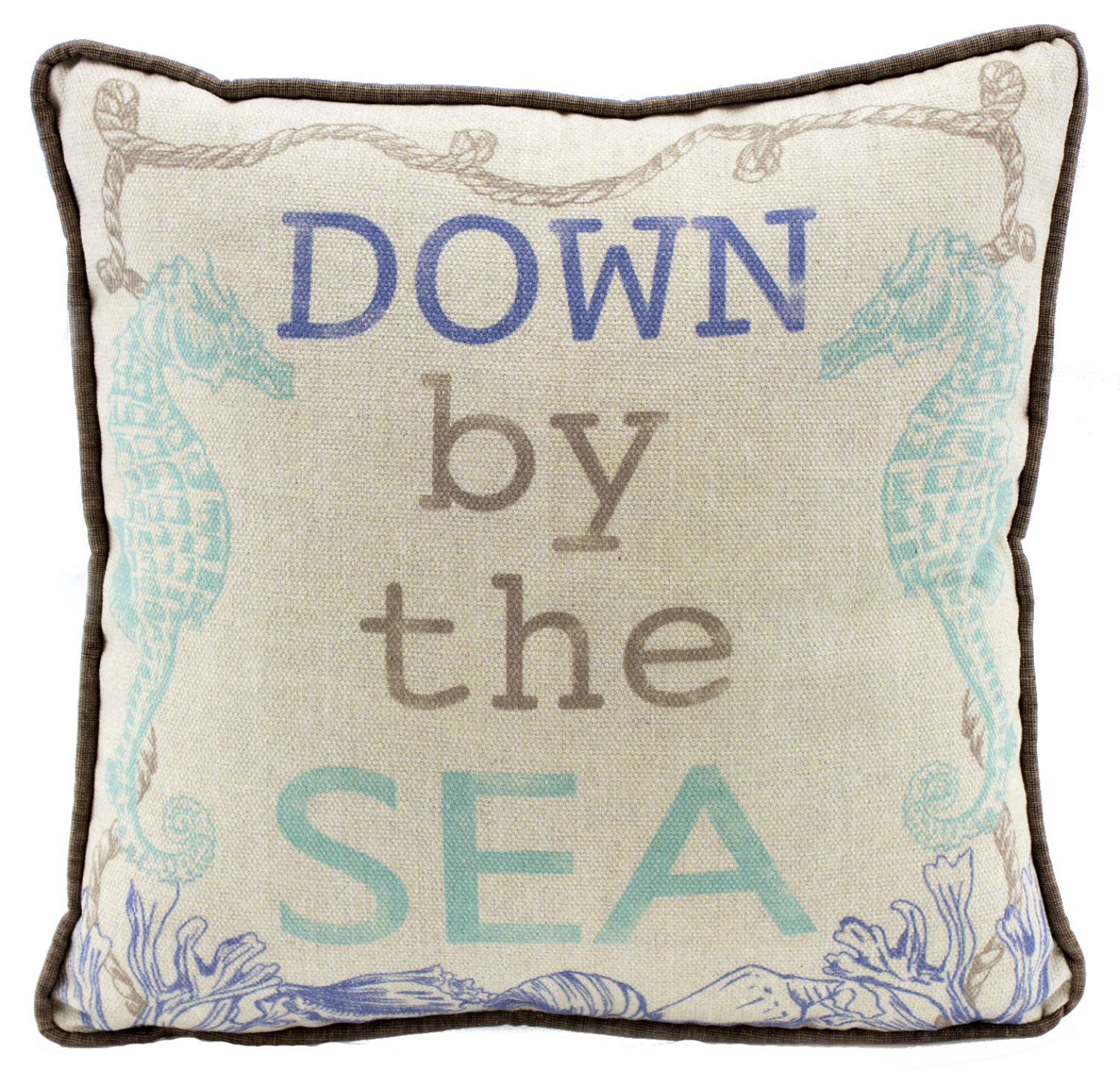 Nautical Seahorses Down By The Sea Decorative Accent Pillow 12 Inch