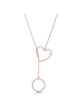 Diamond Accent Beaded Heart and Circle Lariat Necklace in Rose Gold Plated Brass