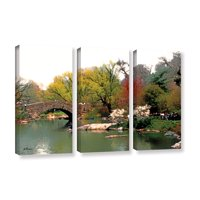'Saturday Central Park' 3 Piece Gallery Wrapped Canvas Art Print Set, 36x54
