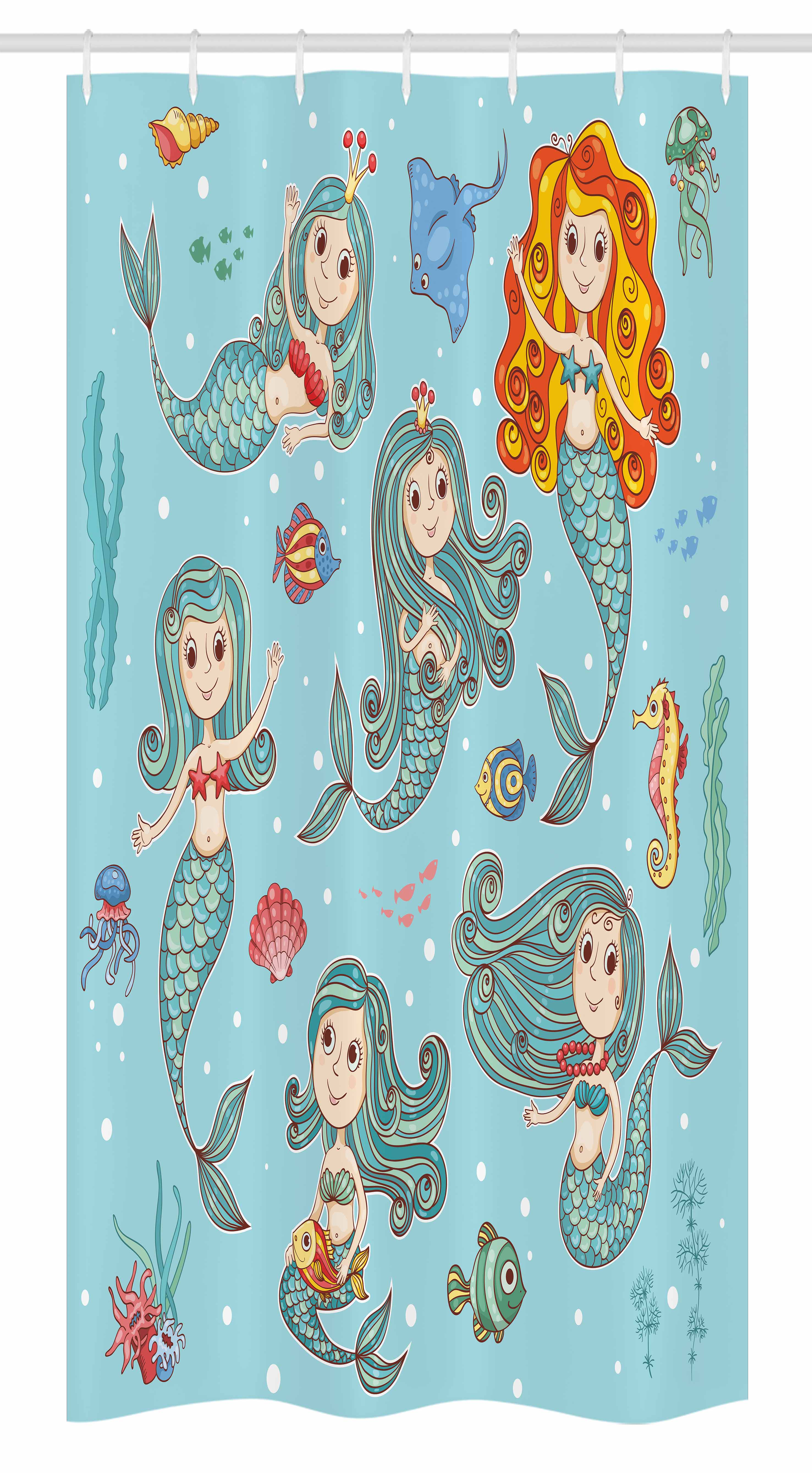 Mermaid Stall Shower Curtain, Cute Collection Of Mermaids With Different  Types Of Sea Creatures Marine
