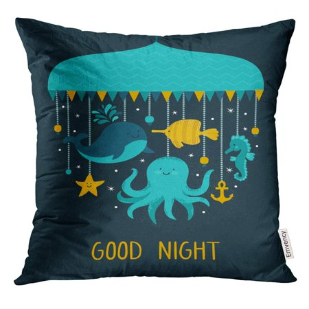BSDHOME Cute Cartoon Characters Different Sea Animal Whale Octopus Horse Fish Star and Hand Written Text Pillow Case 18x18 Inches Pillowcase - image 1 of 1