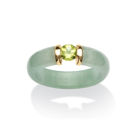 .50 TCW Round Green Peridot and Genuine Jade 10k Yellow Gold Cabochon Ring - Rings That Light Up
