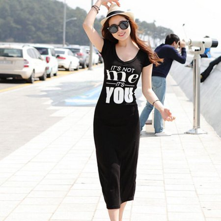 Funcee Women Letter Printed Round Collar Short Sleeve Slim Dress (Style Round Collar Letter)