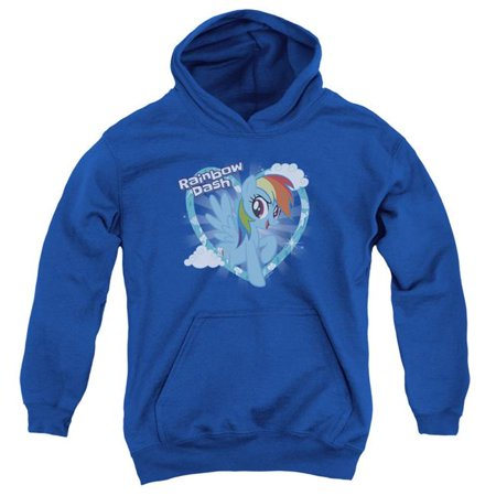 Trevco Sportswear HBRO185-YFTH-3 My Little Pony TV & Rainbow Dash-Youth Pull-Over Hoodie, Royal Blue - Large - image 1 of 1