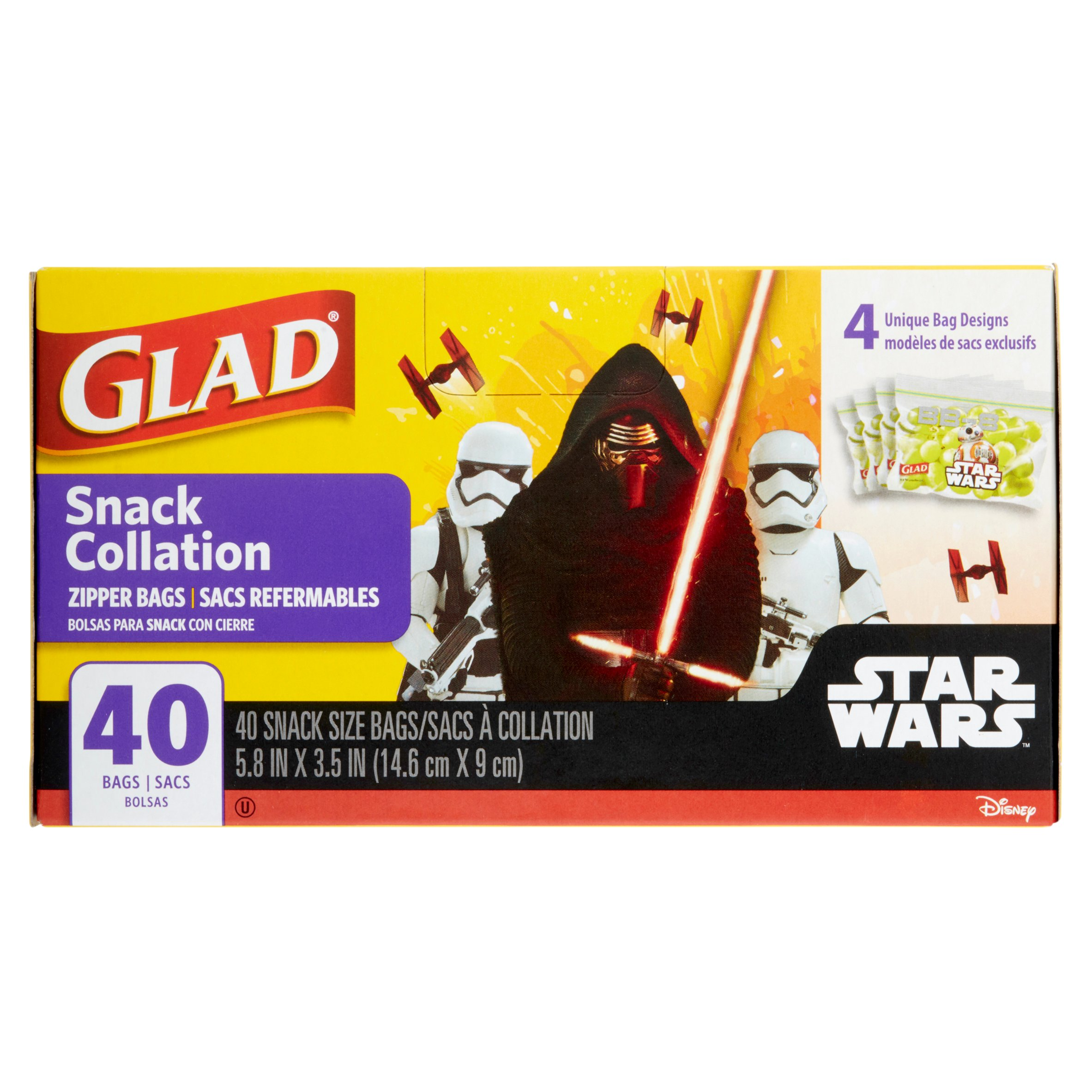 Glad Star Wars Pinch & Seal Zipper Snack Bags, 40 Ct